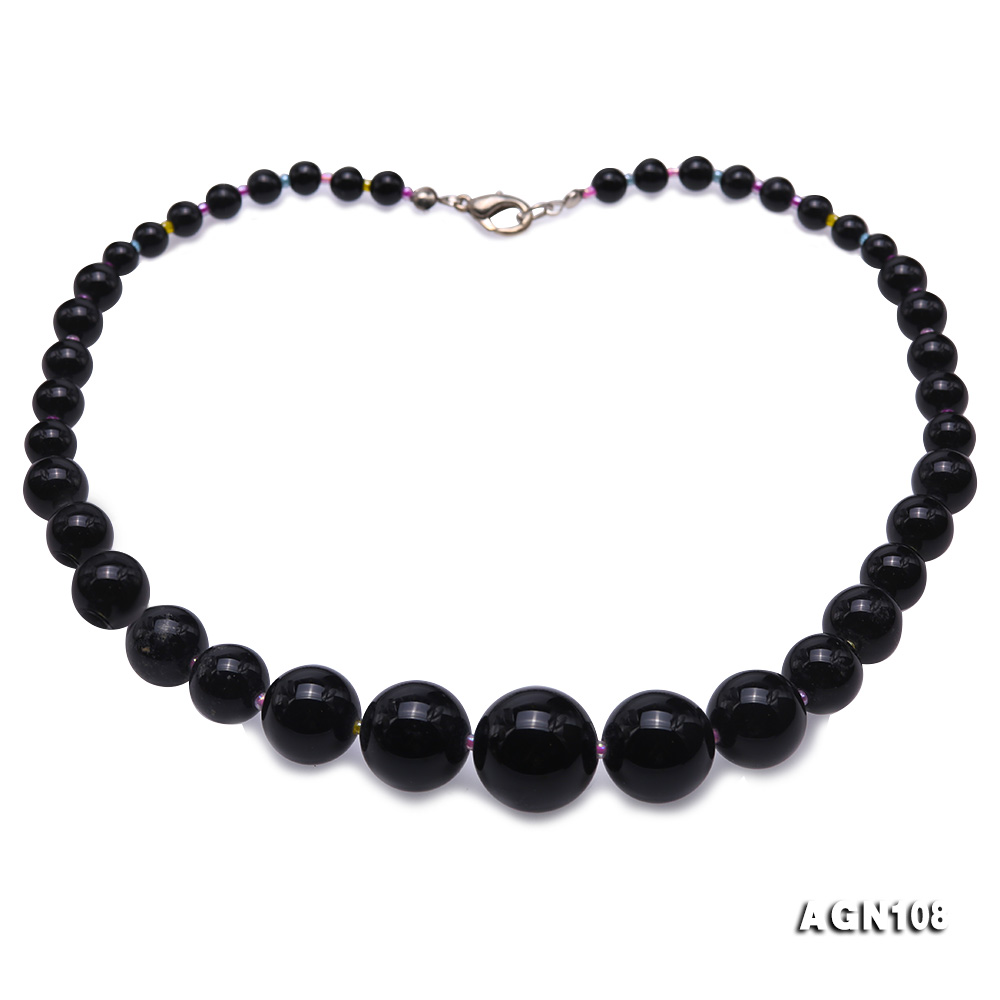 Quality 6.5-18.5mm Gradual Black Agate Necklace big Image 1