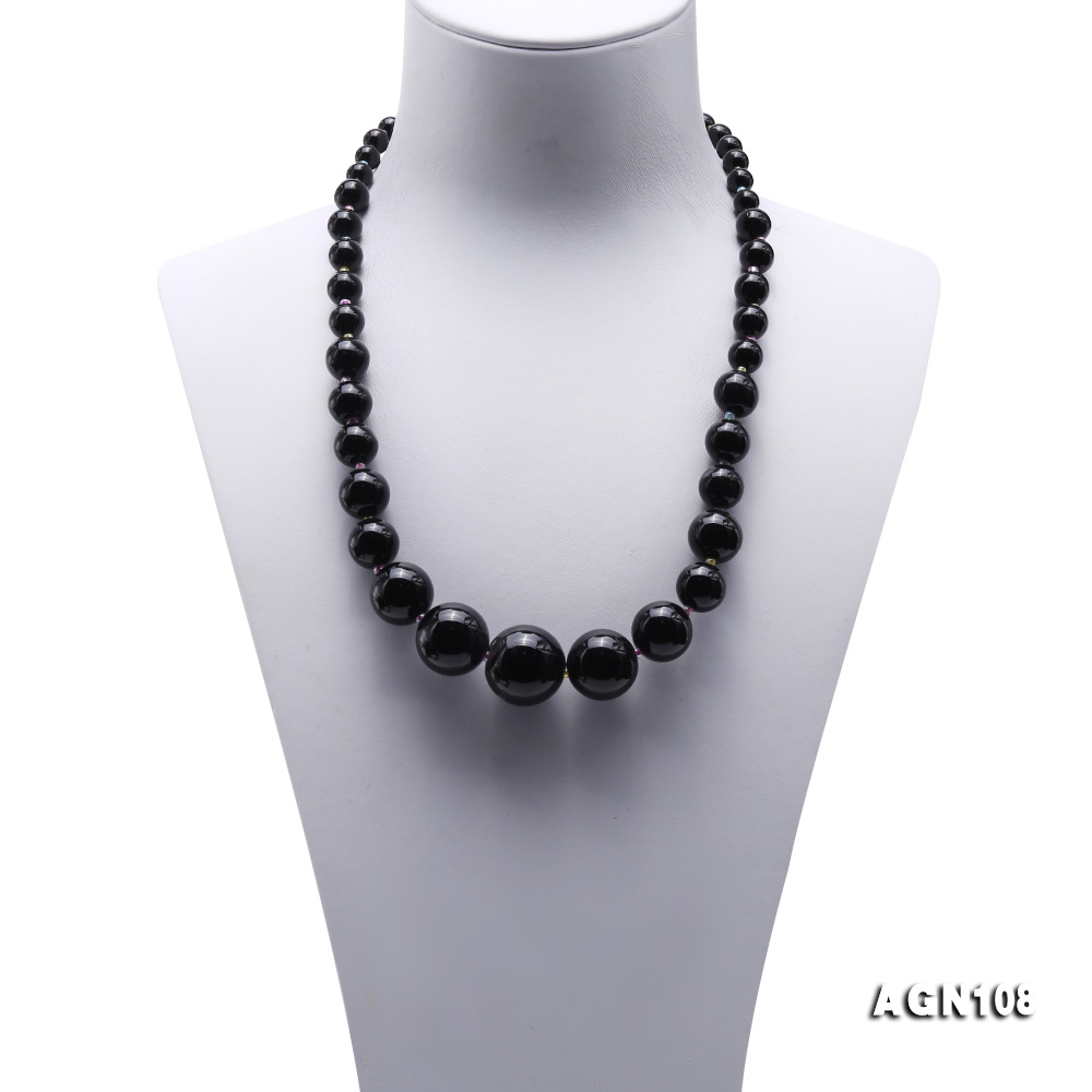 Quality 6.5-18.5mm Gradual Black Agate Necklace big Image 2
