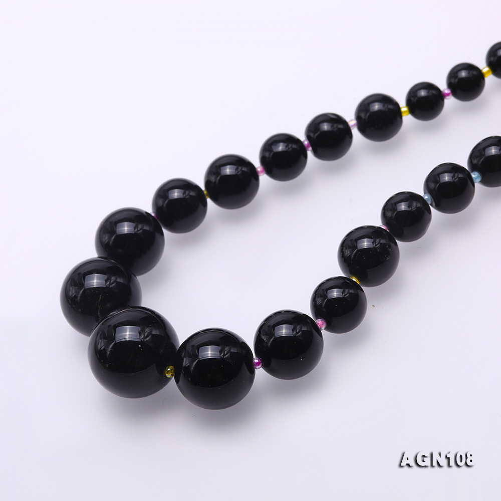 Quality 6.5-18.5mm Gradual Black Agate Necklace big Image 4