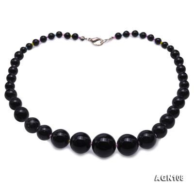 Quality 6.5-18.5mm Gradual Black Agate Necklace AGN108 Image 1