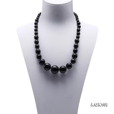 Quality 6.5-18.5mm Gradual Black Agate Necklace AGN108 Image 2