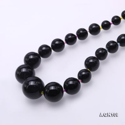 Quality 6.5-18.5mm Gradual Black Agate Necklace AGN108 Image 4