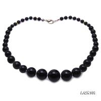Quality 6.5-18.5mm Gradual Black Agate Necklace AGN108