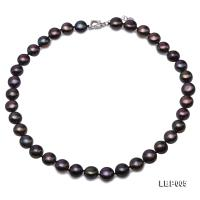 Lustrous 11mm Black Flat Pearl Necklace  LBP005