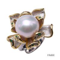 Super Big 15mm White Pearl Ring in 925 Sterling Silver FR053
