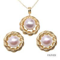 Classical 9mm White Round Freshwater Pearl Earrings & Pendant FNT329