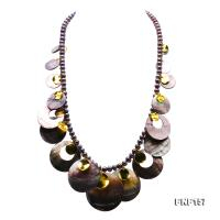 Stylish 8mm Black Pearl & Natural Black Shell Necklace FNF157