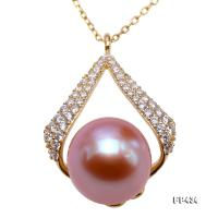 Exquisite Zircon-inlaid 10mm Lavender Freshwater Pearl Pendant in Sterling Silver FP434
