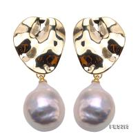 Unique 14.5×18.5mm Baroque Freshwater Pearl Earrings FES395