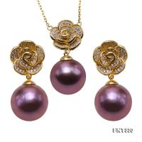 Exquisite 11-11.5mm Lavender Pearl Earrings & Pendant Set in Sterling Silver FNT330