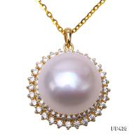 Exquisite Zircon-inlaid 13.5mm White Freshwater Pearl Pendant in Sterling Silver FP436