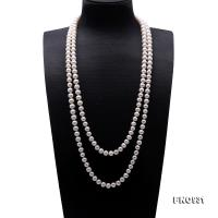 Classical 9-10mm White Freshwater Pearl Long Necklace  FNO931