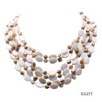 Six-strand 10.5x14mm Natural Shell Necklace  SN077