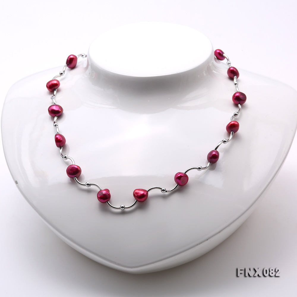 Cost-effective 8-9mm Purple Pearl Tin-Cup Necklace big Image 2