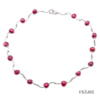 Cost-effective 8-9mm Purple Pearl Tin-Cup Necklace FNX082 Image 1