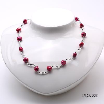 Cost-effective 8-9mm Purple Pearl Tin-Cup Necklace FNX082 Image 2
