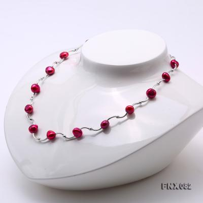 Cost-effective 8-9mm Purple Pearl Tin-Cup Necklace FNX082 Image 3