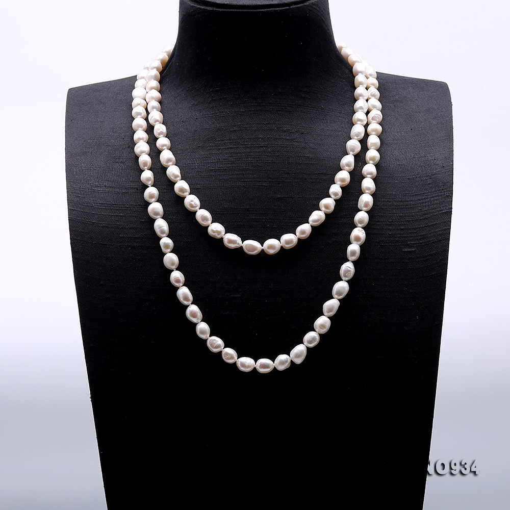 Classical 8-9mm White Baroque Pearl Long Necklace big Image 2