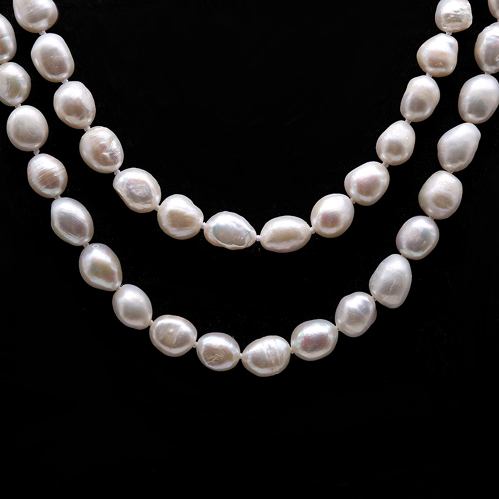Classical 8-9mm White Baroque Pearl Long Necklace big Image 3