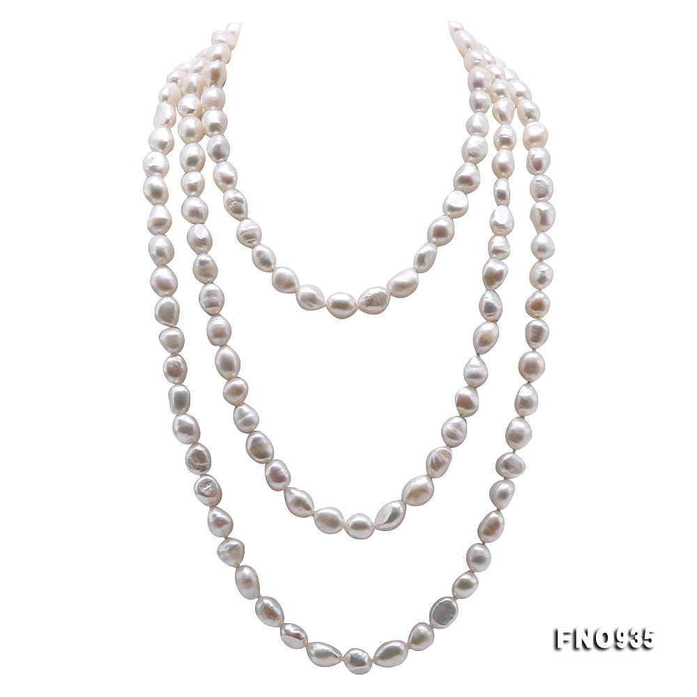 Classical 8-9mm White Baroque Pearl Long Necklace big Image 1