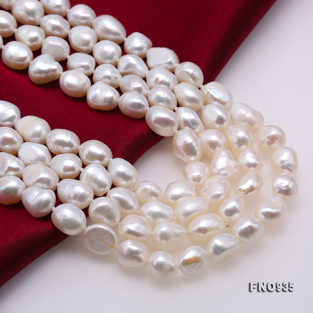 Classical 8-9mm White Baroque Pearl Long Necklace big Image 6