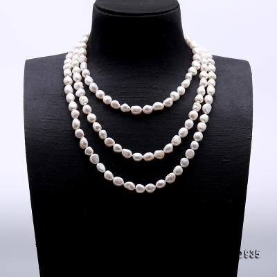 Classical 8-9mm White Baroque Pearl Long Necklace FNO935 Image 3