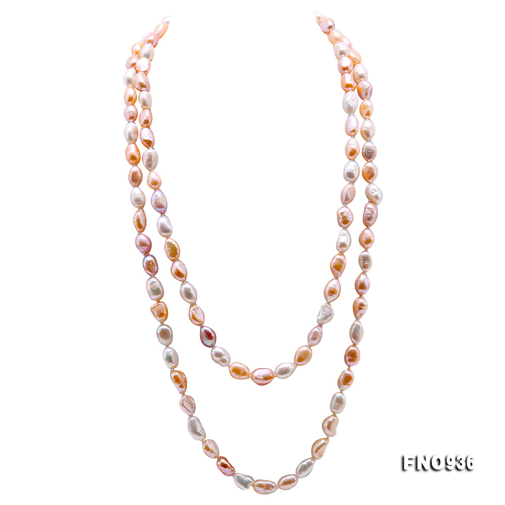 Classical 7-8mm Multi-color Baroque Pearl Long Necklace big Image 1
