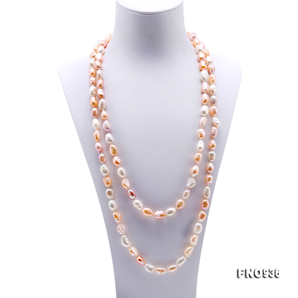 Classical 7-8mm Multi-color Baroque Pearl Long Necklace big Image 2