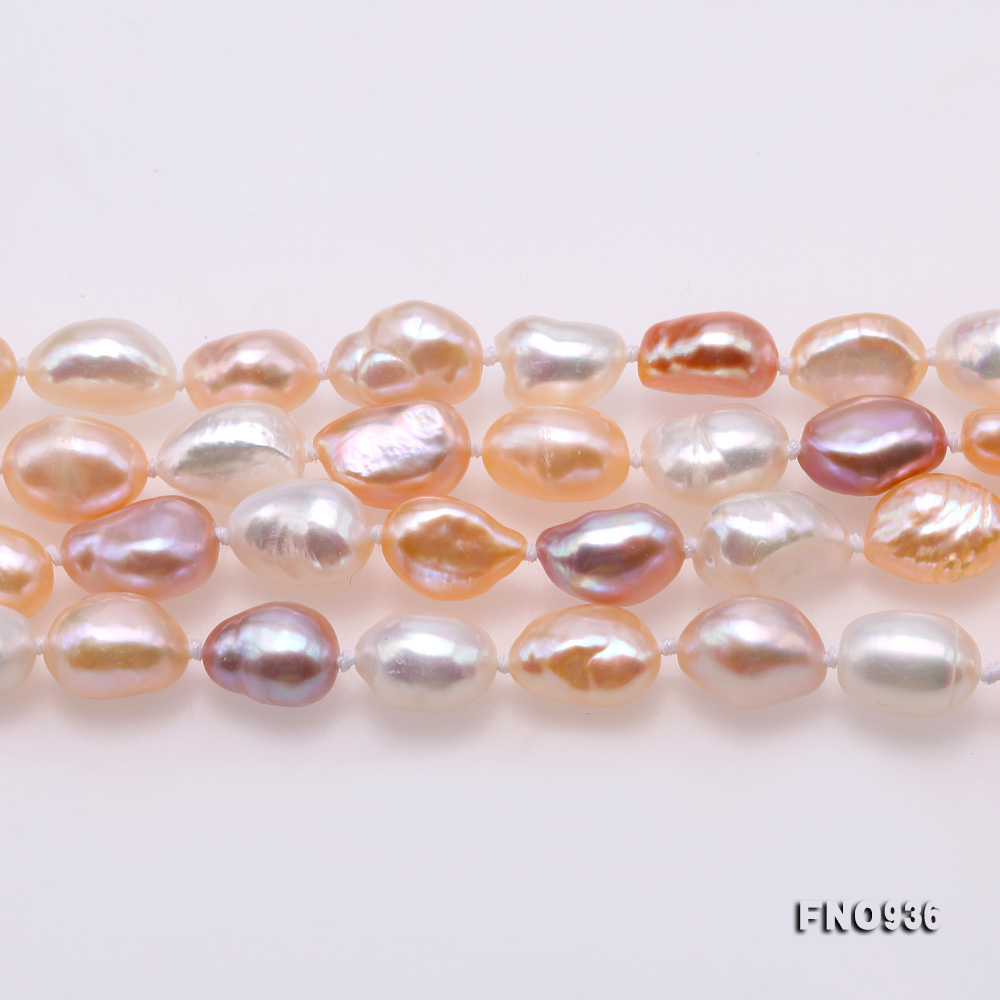 Classical 7-8mm Multi-color Baroque Pearl Long Necklace big Image 3