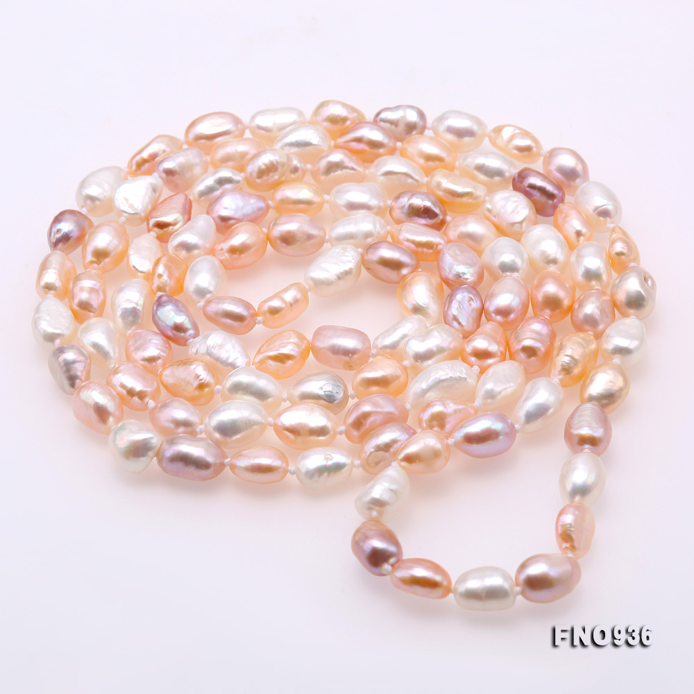 Classical 7-8mm Multi-color Baroque Pearl Long Necklace big Image 4