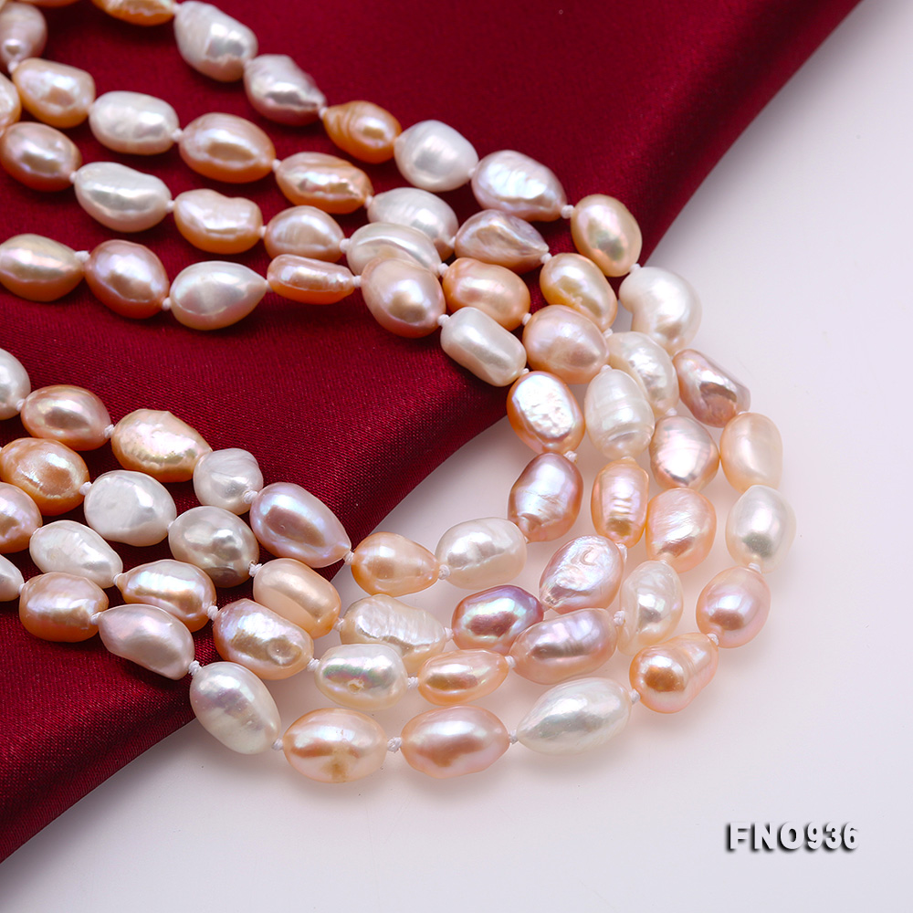 Classical 7-8mm Multi-color Baroque Pearl Long Necklace big Image 6
