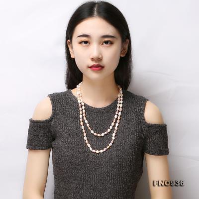 Classical 7-8mm Multi-color Baroque Pearl Long Necklace FNO936 Image 8