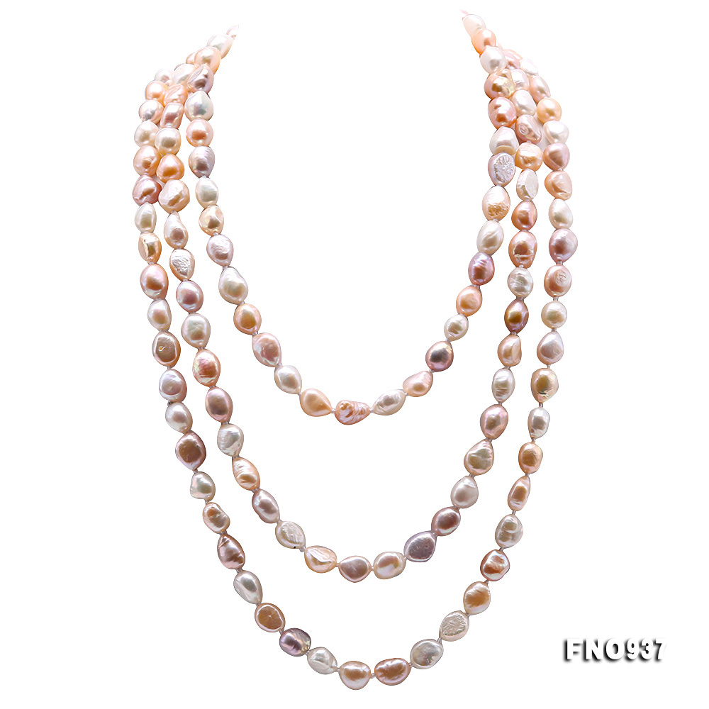 Classical 8-9mm MultiColor Baroque Pearl Long Necklace big Image 1