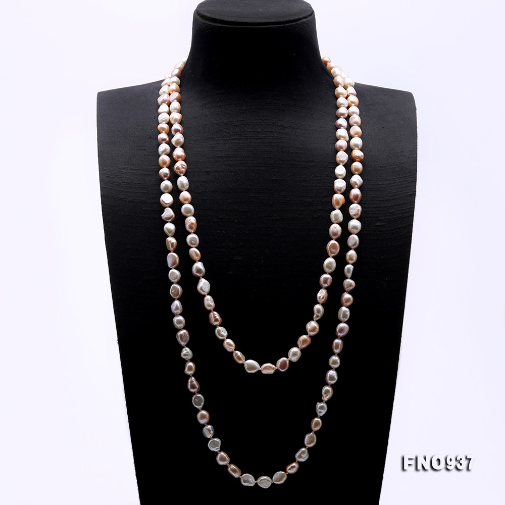 Classical 8-9mm MultiColor Baroque Pearl Long Necklace big Image 3