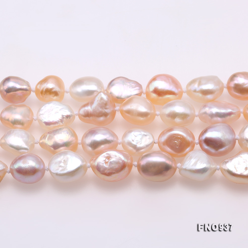 Classical 8-9mm MultiColor Baroque Pearl Long Necklace big Image 4