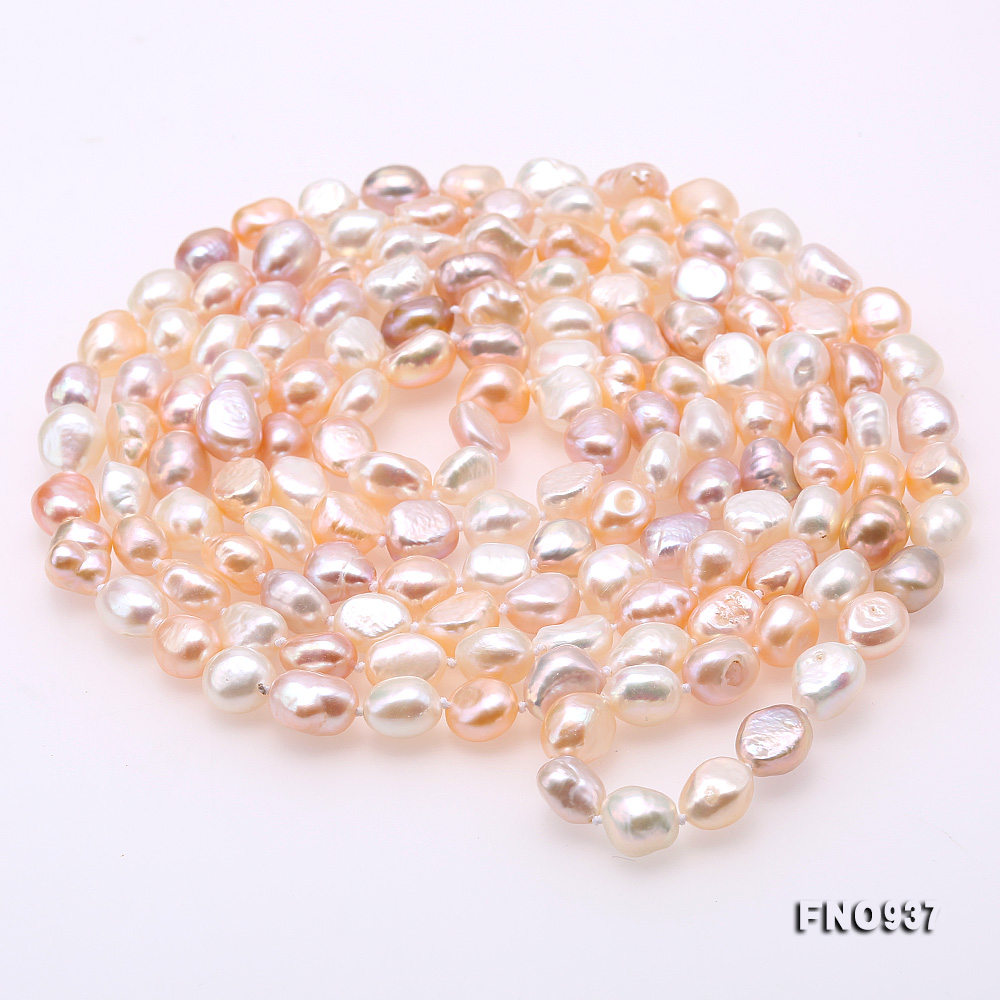 Classical 8-9mm MultiColor Baroque Pearl Long Necklace big Image 5