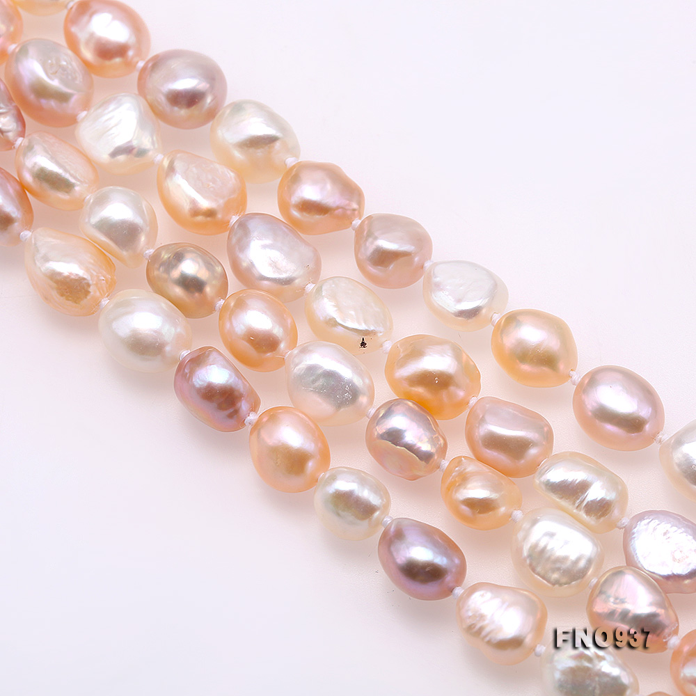 Classical 8-9mm MultiColor Baroque Pearl Long Necklace big Image 6