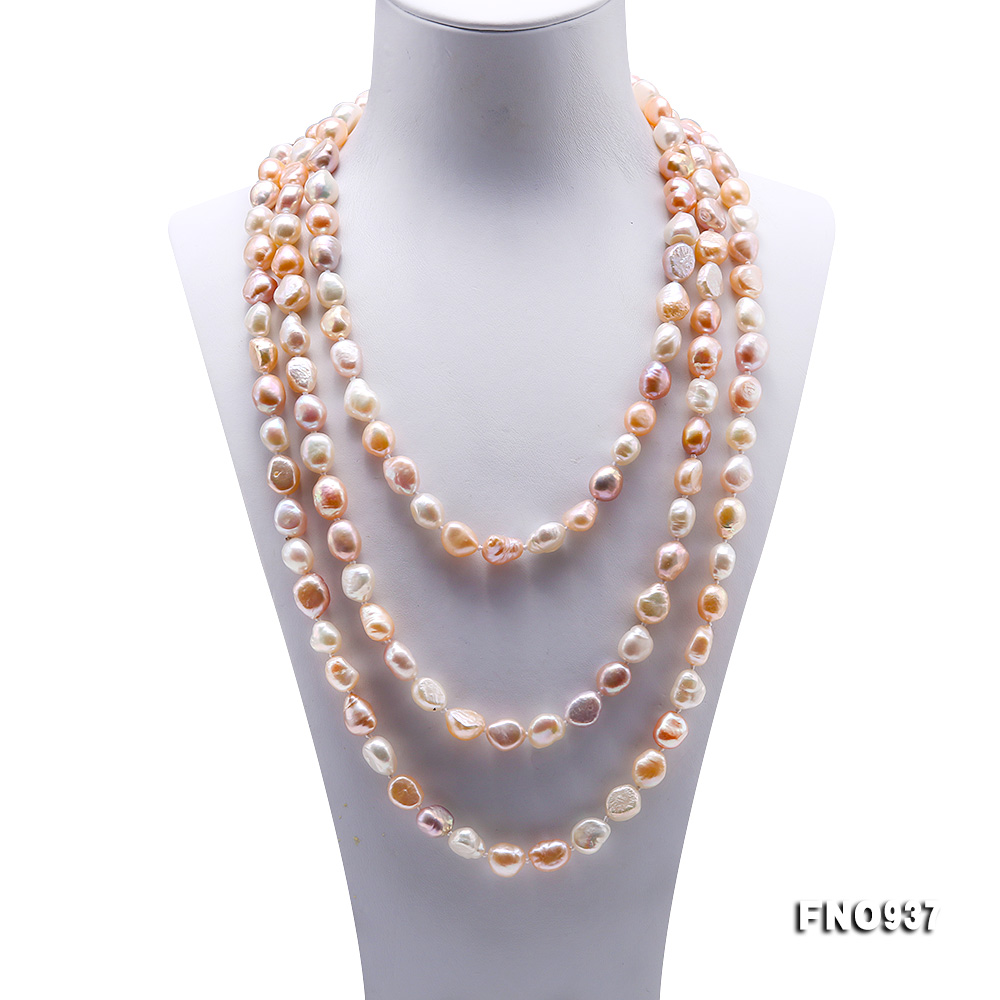 Classical 8-9mm MultiColor Baroque Pearl Long Necklace big Image 2