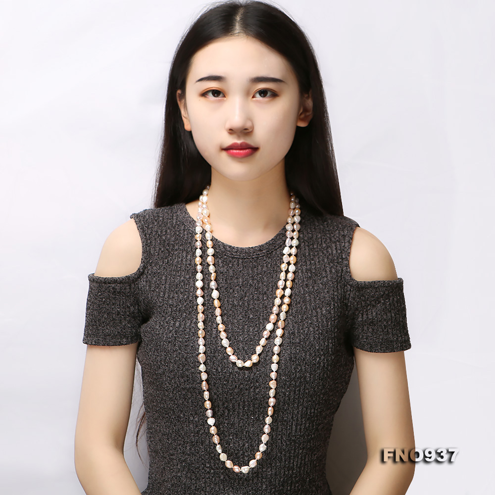 Classical 8-9mm MultiColor Baroque Pearl Long Necklace big Image 9