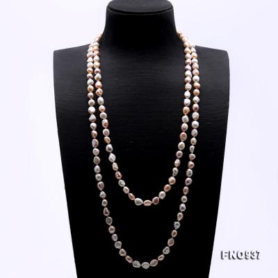 Classical 8-9mm MultiColor Baroque Pearl Long Necklace FNO937 Image 3