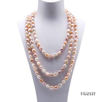 Classical 8-9mm MultiColor Baroque Pearl Long Necklace FNO937 Image 2