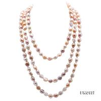 Classical 8-9mm MultiColor Baroque Pearl Long Necklace FNO937