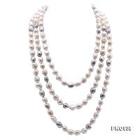 Classical 8-9mm White & Gray Baroque Pearl Long Necklace FNO938