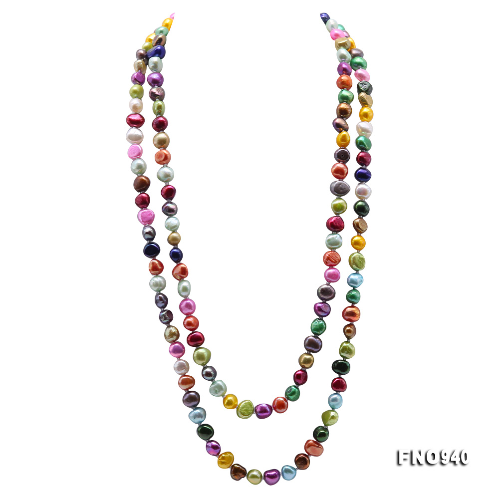 Classical 8-9mm Multi-Color Baroque Pearl Long Necklace big Image 1