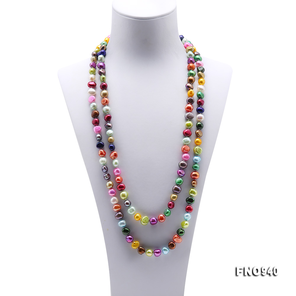 Classical 8-9mm Multi-Color Baroque Pearl Long Necklace big Image 2