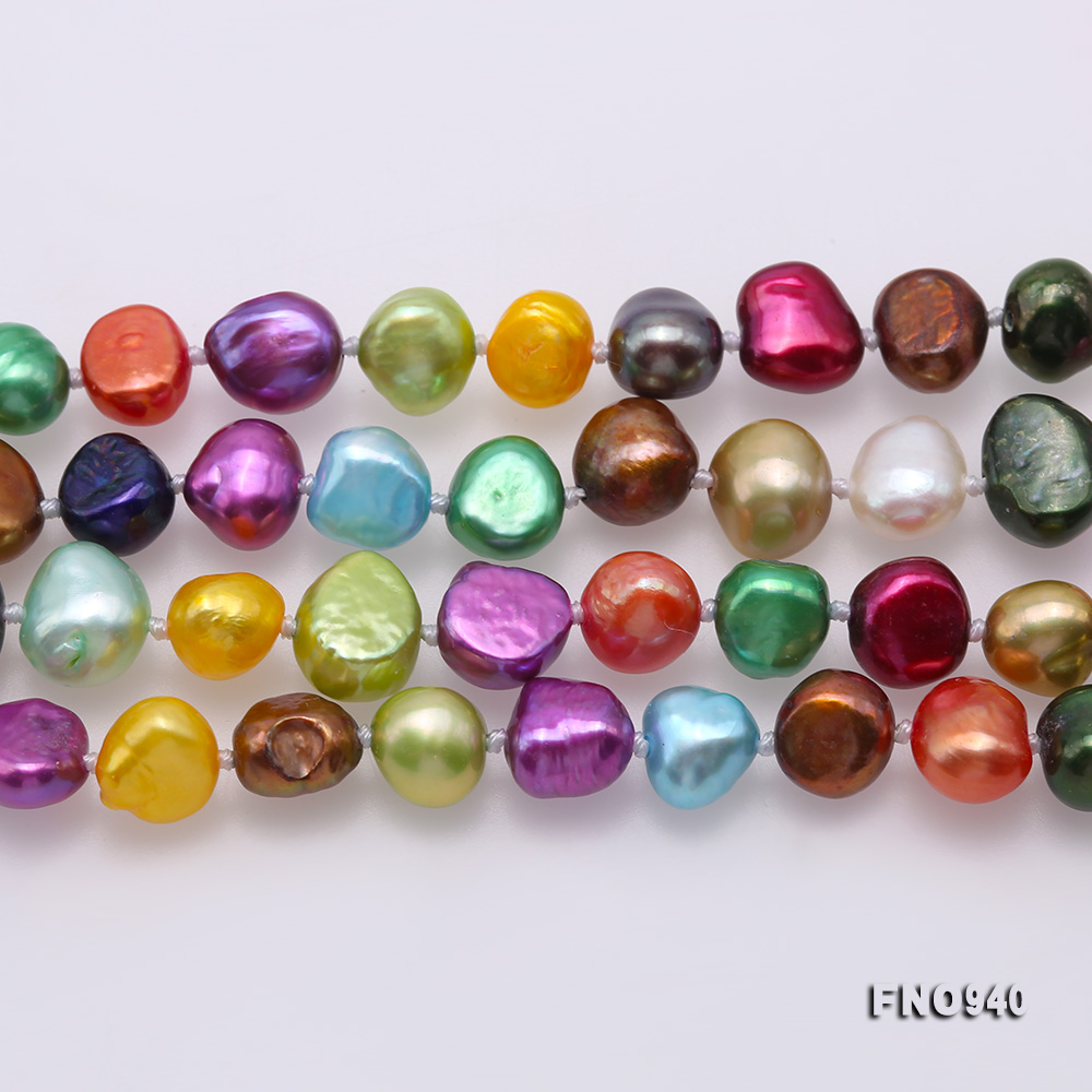 Classical 8-9mm Multi-Color Baroque Pearl Long Necklace big Image 3
