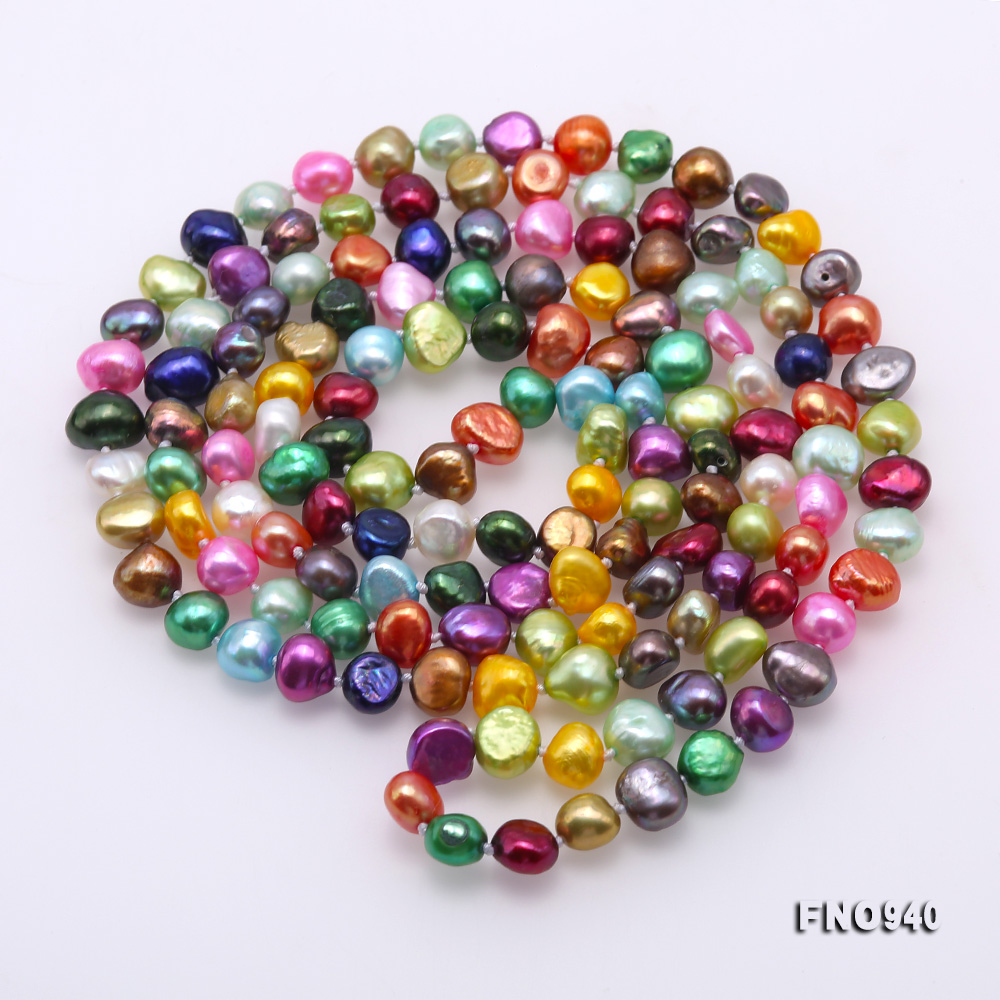 Classical 8-9mm Multi-Color Baroque Pearl Long Necklace big Image 4