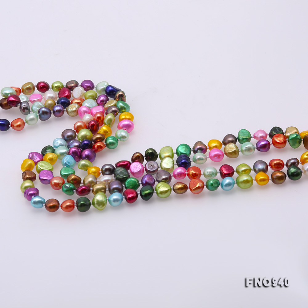 Classical 8-9mm Multi-Color Baroque Pearl Long Necklace big Image 5