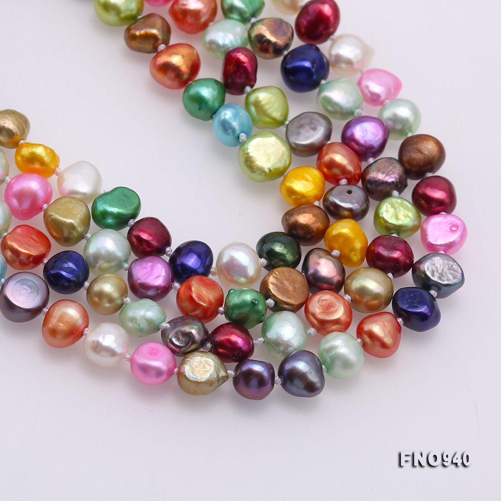 Classical 8-9mm Multi-Color Baroque Pearl Long Necklace big Image 6