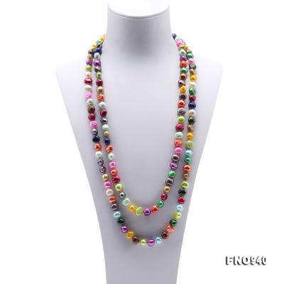 Classical 8-9mm Multi-Color Baroque Pearl Long Necklace FNO940 Image 2